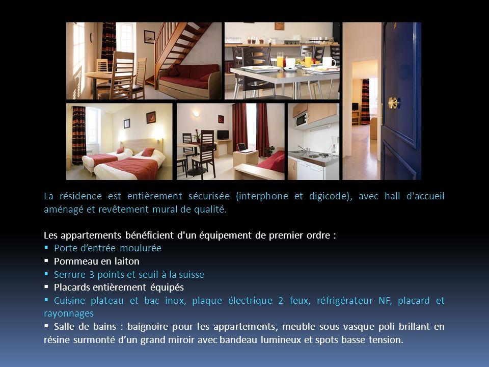 La résidence est entièrement sécurisée (interphone et digicode), avec hall d accueil aménagé et revêtement mural de qualité.
