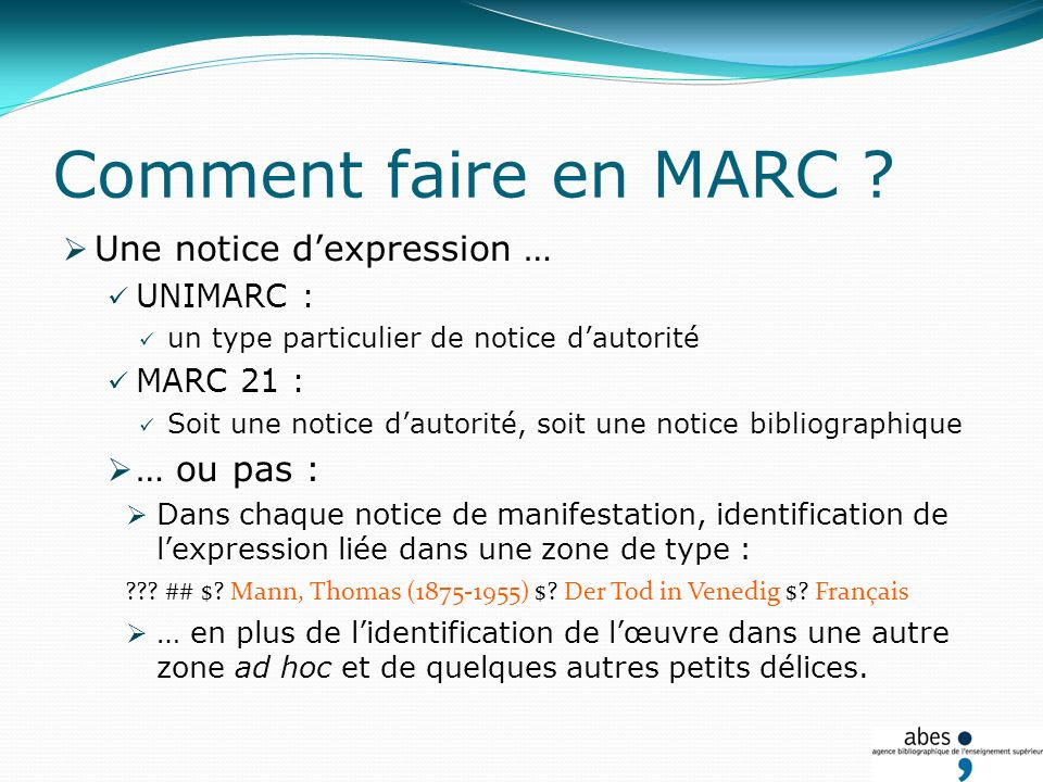 Comment faire en MARC .