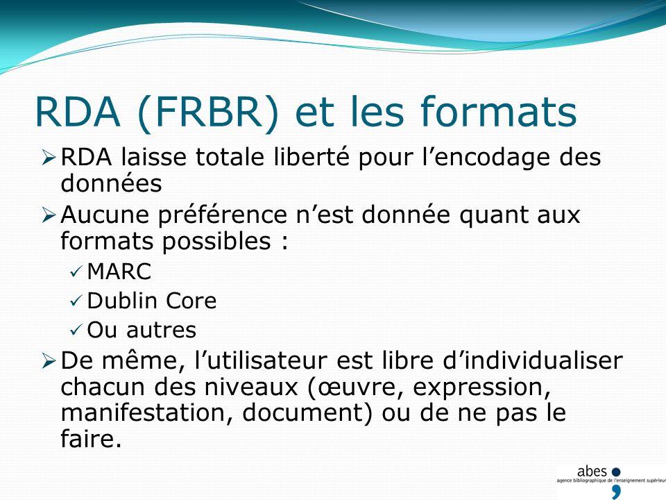 RDA (FRBR) et les formats RDA laisse totale liberté pour lencodage des données Aucune préférence nest donnée quant aux formats possibles : MARC Dublin