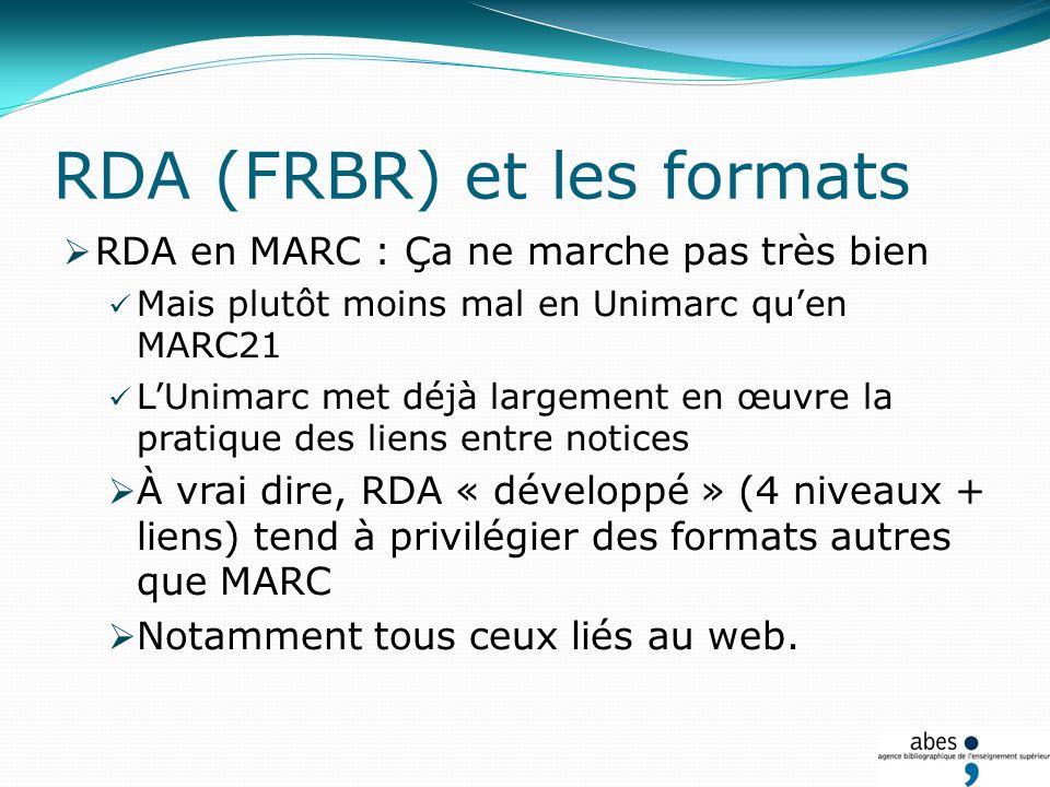 RDA (FRBR) et les formats RDA en MARC : Ça ne marche pas très bien Mais plutôt moins mal en Unimarc quen MARC21 LUnimarc met déjà largement en œuvre la pratique des liens entre notices À vrai dire, RDA « développé » (4 niveaux + liens) tend à privilégier des formats autres que MARC Notamment tous ceux liés au web.