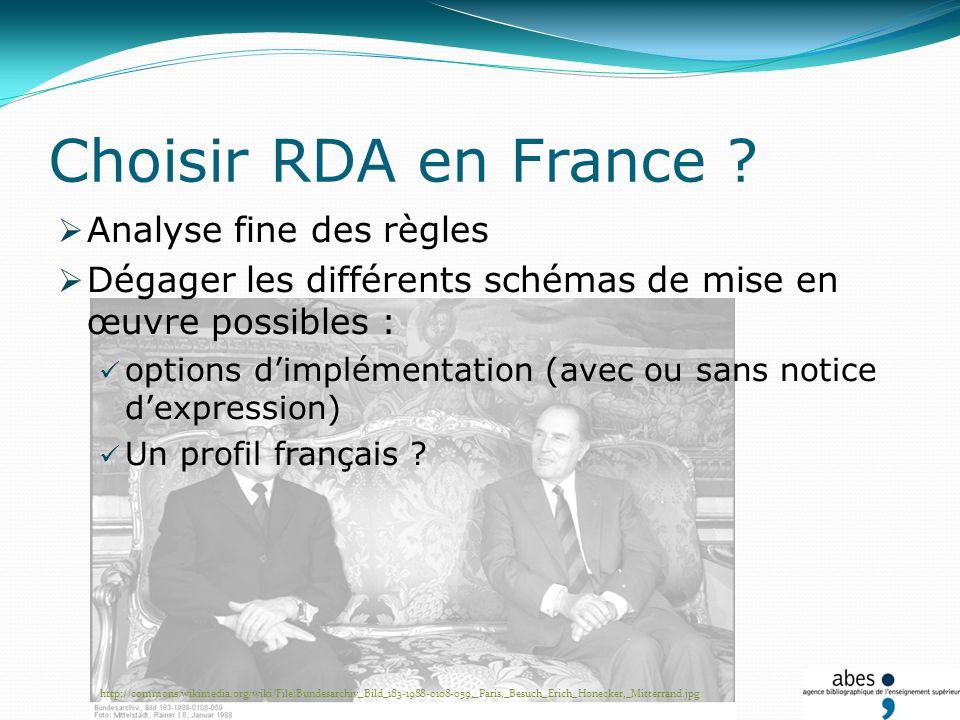 Choisir RDA en France ? Analyse fine des règles Dégager les différents schémas de mise en œuvre possibles : options dimplémentation (avec ou sans noti