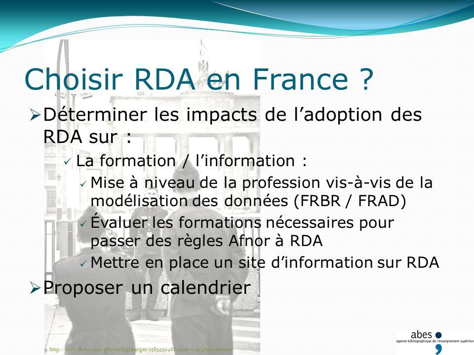 Choisir RDA en France ? Déterminer les impacts de ladoption des RDA sur : La formation / linformation : Mise à niveau de la profession vis-à-vis de la