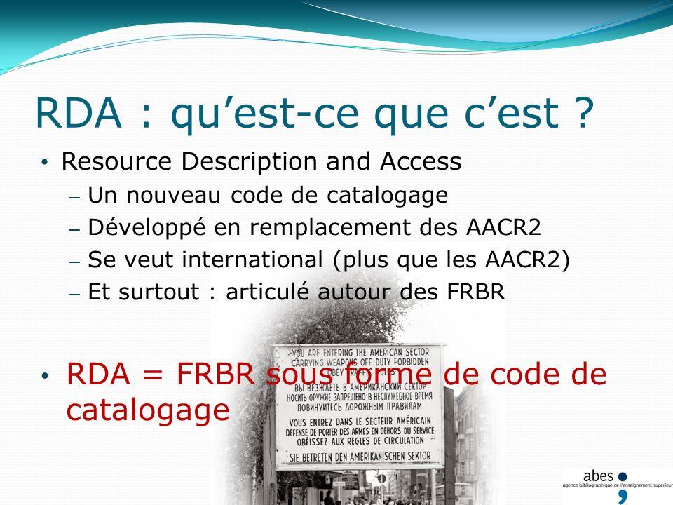 RDA : quest-ce que cest ? Resource Description and Access – Un nouveau code de catalogage – Développé en remplacement des AACR2 – Se veut internationa