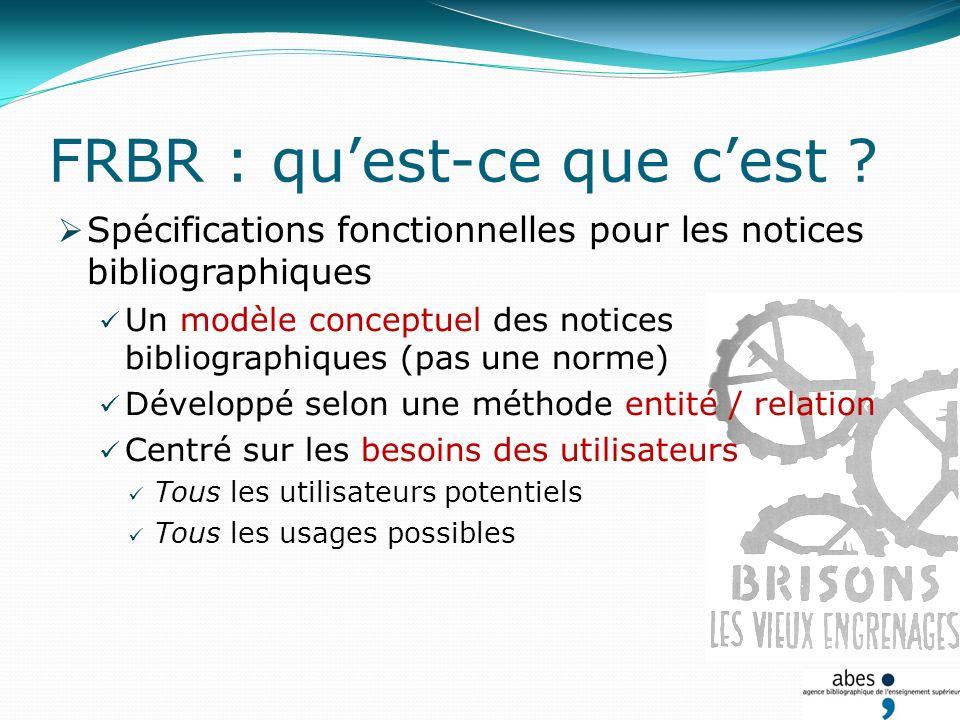 FRBR : quest-ce que cest ? Spécifications fonctionnelles pour les notices bibliographiques Un modèle conceptuel des notices bibliographiques (pas une