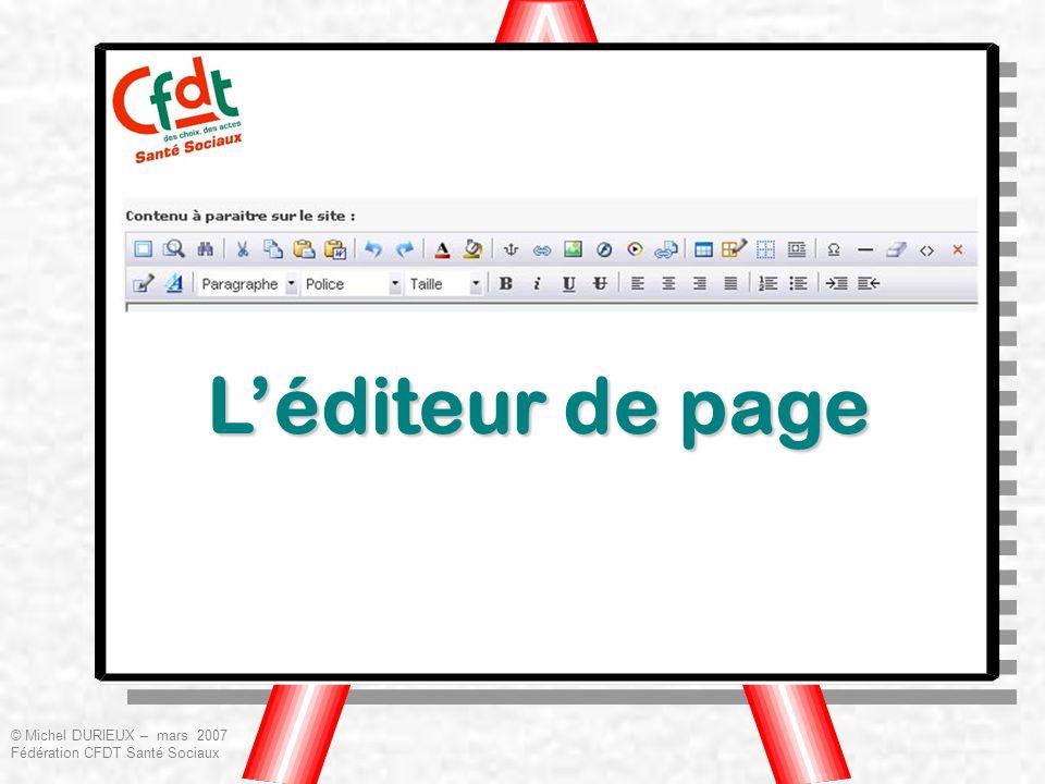 Léditeur de page © Michel DURIEUX – mars 2007 Fédération CFDT Santé Sociaux