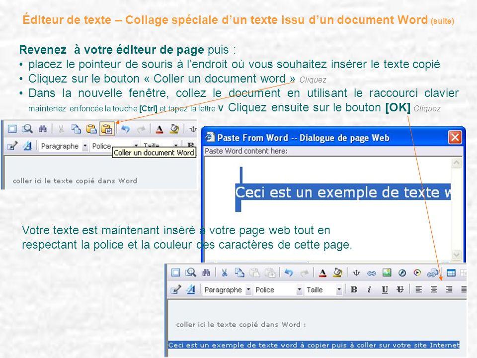 Éditeur de texte – Collage spéciale dun texte issu dun document Word (suite) Revenez à votre éditeur de page puis : placez le pointeur de souris à len