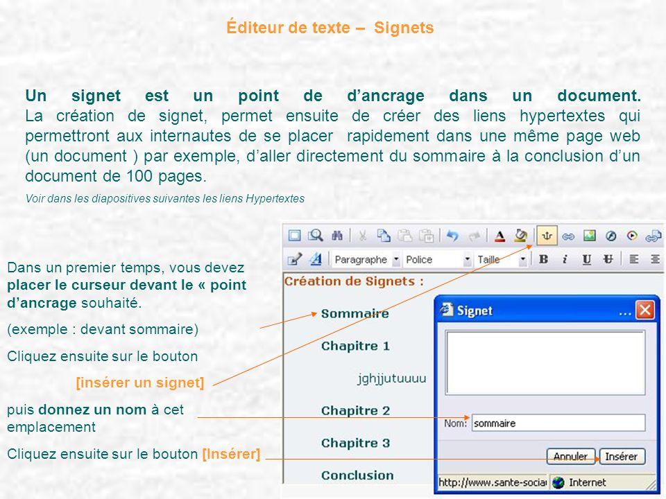 Éditeur de texte – Signets Un signet est un point de dancrage dans un document. La création de signet, permet ensuite de créer des liens hypertextes q