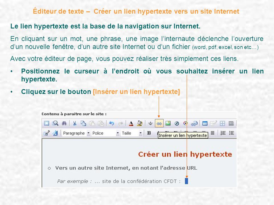 Éditeur de texte – Créer un lien hypertexte vers un site Internet Le lien hypertexte est la base de la navigation sur Internet. En cliquant sur un mot