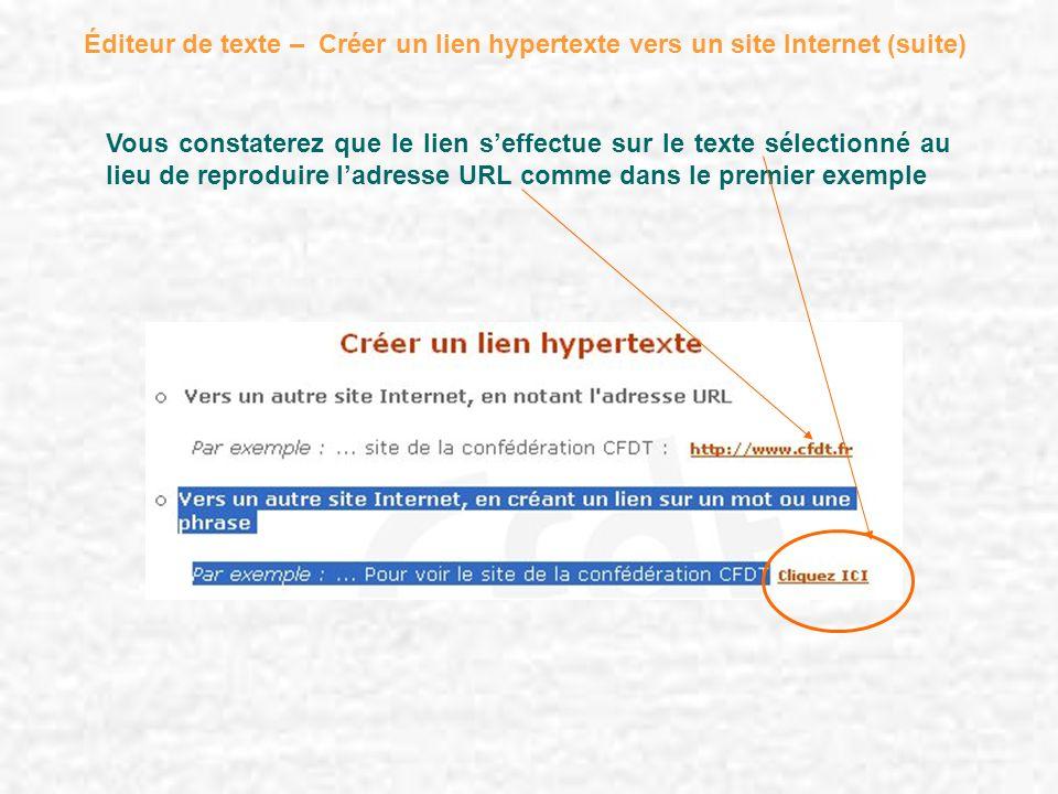 Éditeur de texte – Créer un lien hypertexte vers un site Internet (suite) Vous constaterez que le lien seffectue sur le texte sélectionné au lieu de r