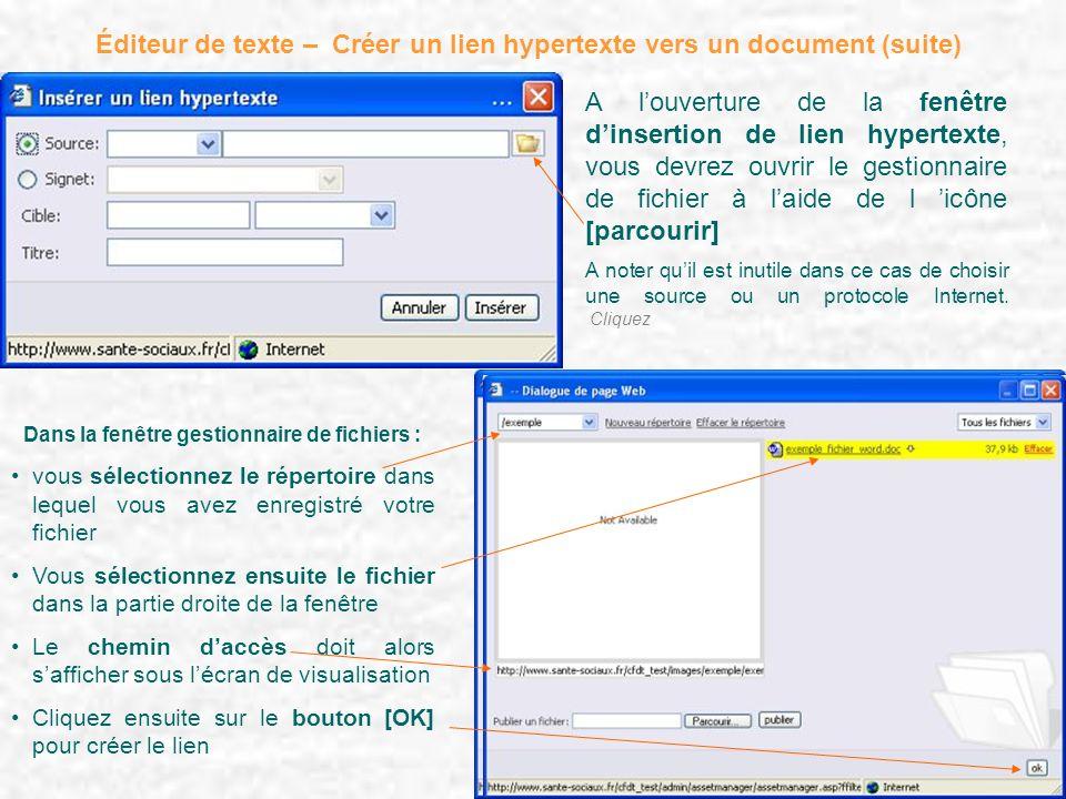 Éditeur de texte – Créer un lien hypertexte vers un document (suite) A louverture de la fenêtre dinsertion de lien hypertexte, vous devrez ouvrir le g