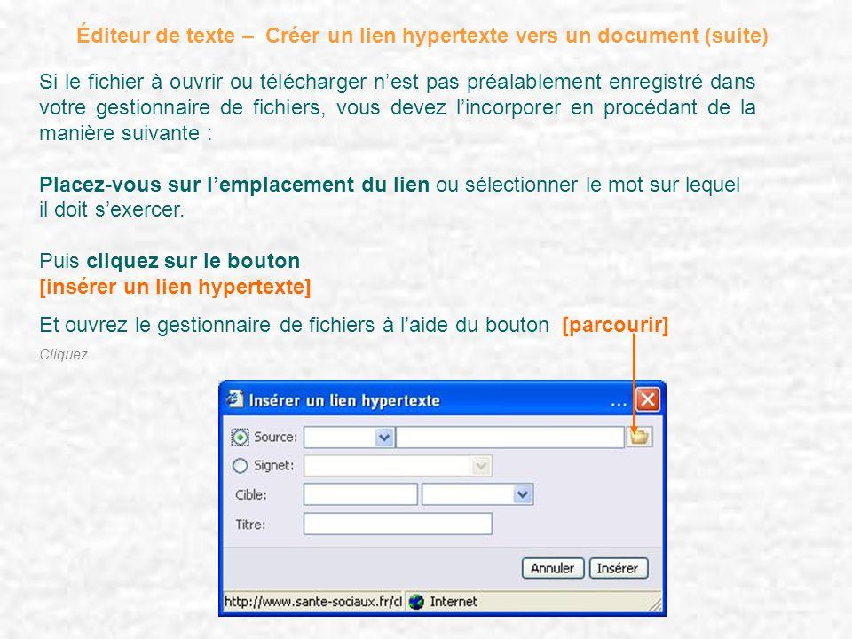Éditeur de texte – Créer un lien hypertexte vers un document (suite) Si le fichier à ouvrir ou télécharger nest pas préalablement enregistré dans votr