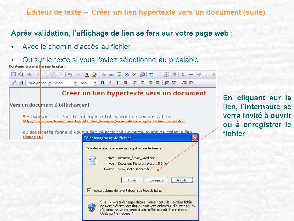 Éditeur de texte – Créer un lien hypertexte vers un document (suite) Après validation, laffichage de lien se fera sur votre page web : Avec le chemin