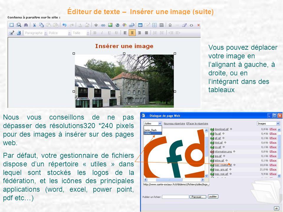 Éditeur de texte – Insérer une image (suite) Nous vous conseillons de ne pas dépasser des résolutions320 *240 pixels pour des images à insérer sur des