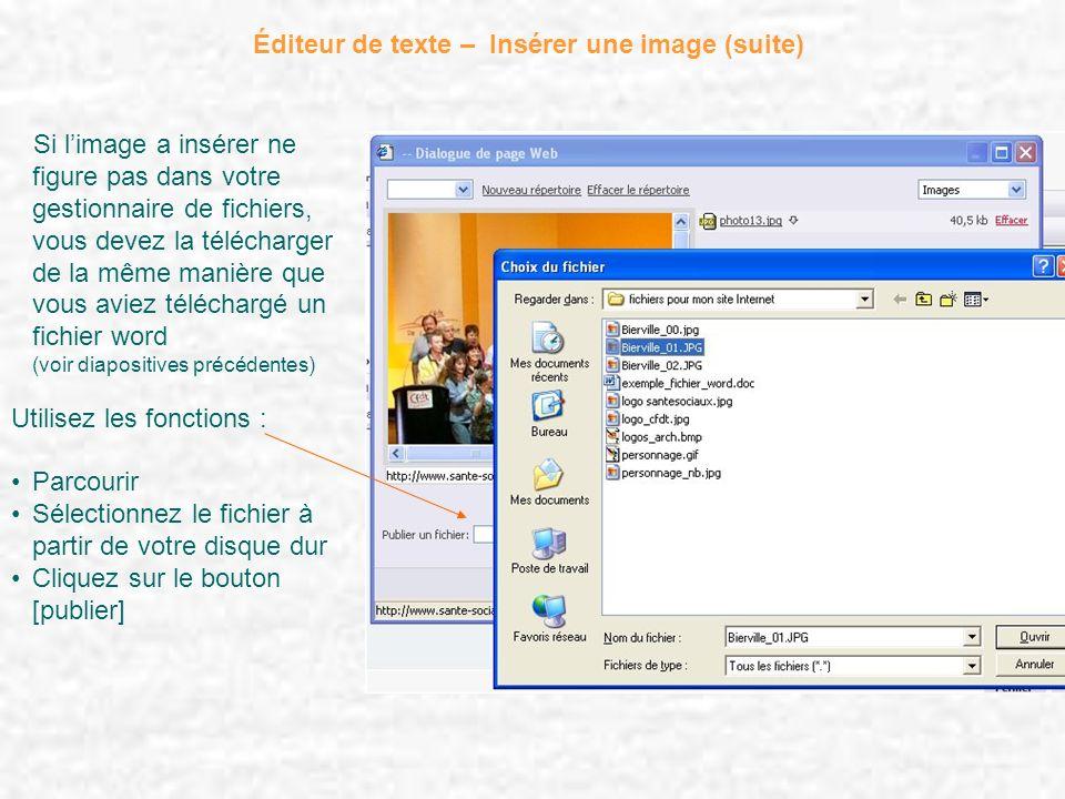 Éditeur de texte – Insérer une image (suite) Si limage a insérer ne figure pas dans votre gestionnaire de fichiers, vous devez la télécharger de la mê