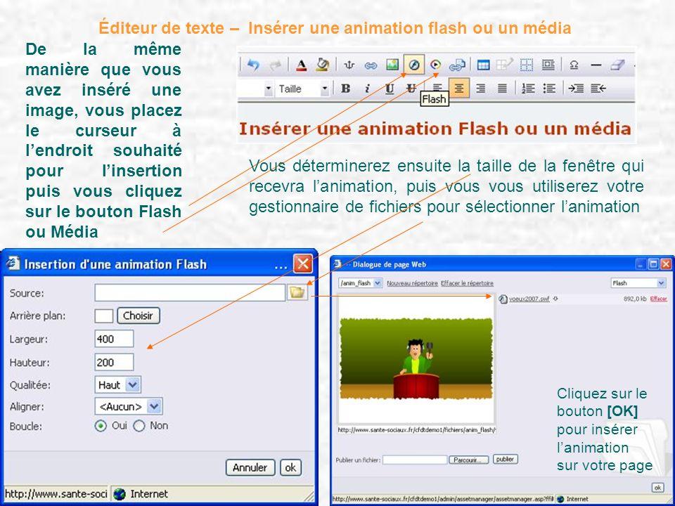 Éditeur de texte – Insérer une animation flash ou un média De la même manière que vous avez inséré une image, vous placez le curseur à lendroit souhai