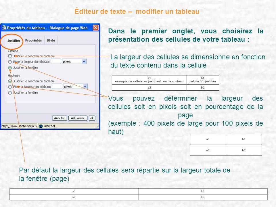 Éditeur de texte – modifier un tableau Dans le premier onglet, vous choisirez la présentation des cellules de votre tableau : La largeur des cellules