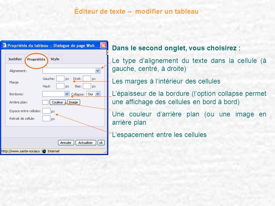 Éditeur de texte – modifier un tableau Dans le second onglet, vous choisirez : Le type dalignement du texte dans la cellule (à gauche, centré, à droit