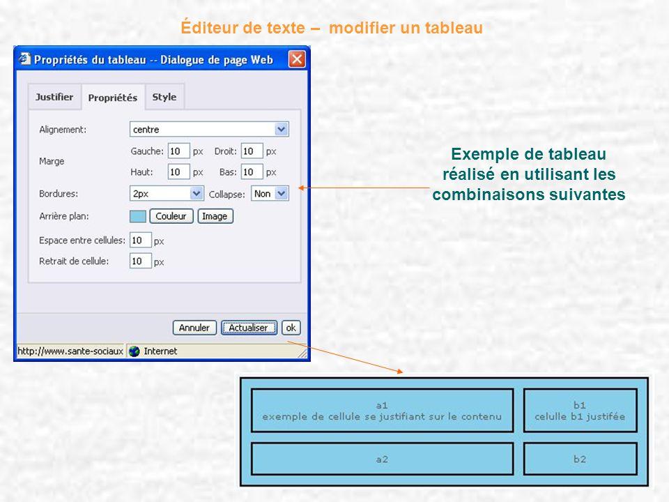 Éditeur de texte – modifier un tableau Exemple de tableau réalisé en utilisant les combinaisons suivantes