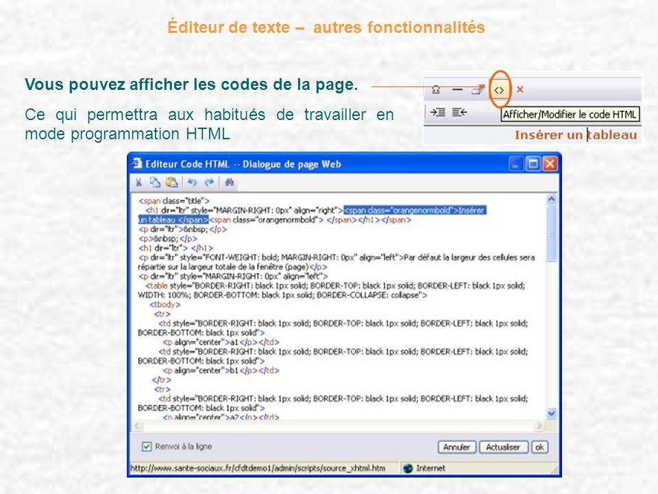 Éditeur de texte – autres fonctionnalités Vous pouvez afficher les codes de la page. Ce qui permettra aux habitués de travailler en mode programmation
