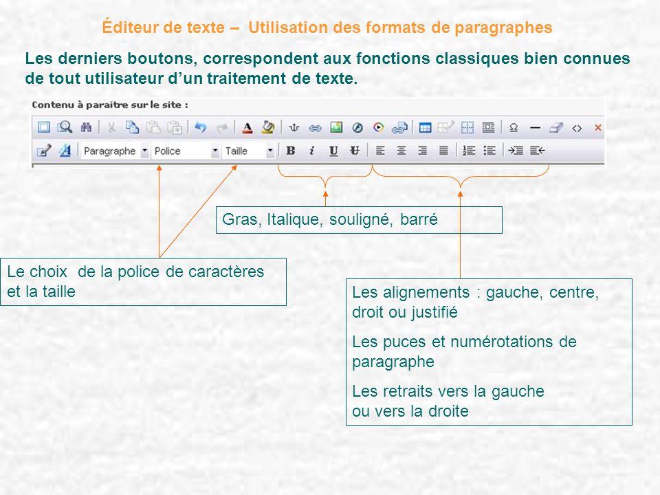 Les derniers boutons, correspondent aux fonctions classiques bien connues de tout utilisateur dun traitement de texte. Éditeur de texte – Utilisation