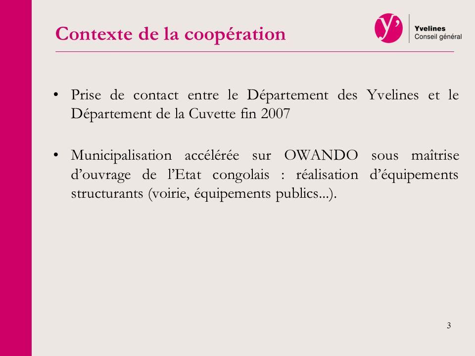 3 Prise de contact entre le Département des Yvelines et le Département de la Cuvette fin 2007 Municipalisation accélérée sur OWANDO sous maîtrise douv