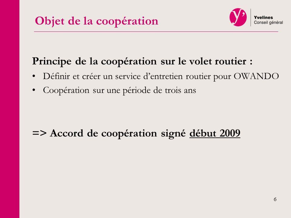 6 Principe de la coopération sur le volet routier : Définir et créer un service dentretien routier pour OWANDO Coopération sur une période de trois an