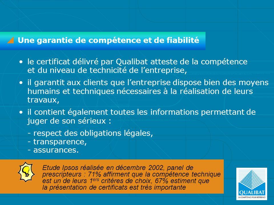 le certificat délivré par Qualibat atteste de la compétence et du niveau de technicité de lentreprise, il garantit aux clients que lentreprise dispose