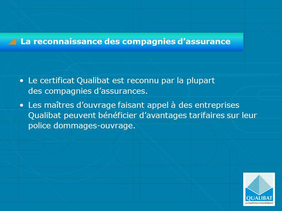 Le certificat Qualibat est reconnu par la plupart des compagnies dassurances. Les maîtres douvrage faisant appel à des entreprises Qualibat peuvent bé