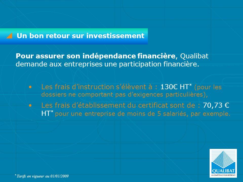 Pour assurer son indépendance financière, Qualibat demande aux entreprises une participation financière. Les frais dinstruction sélèvent à : 130 HT *