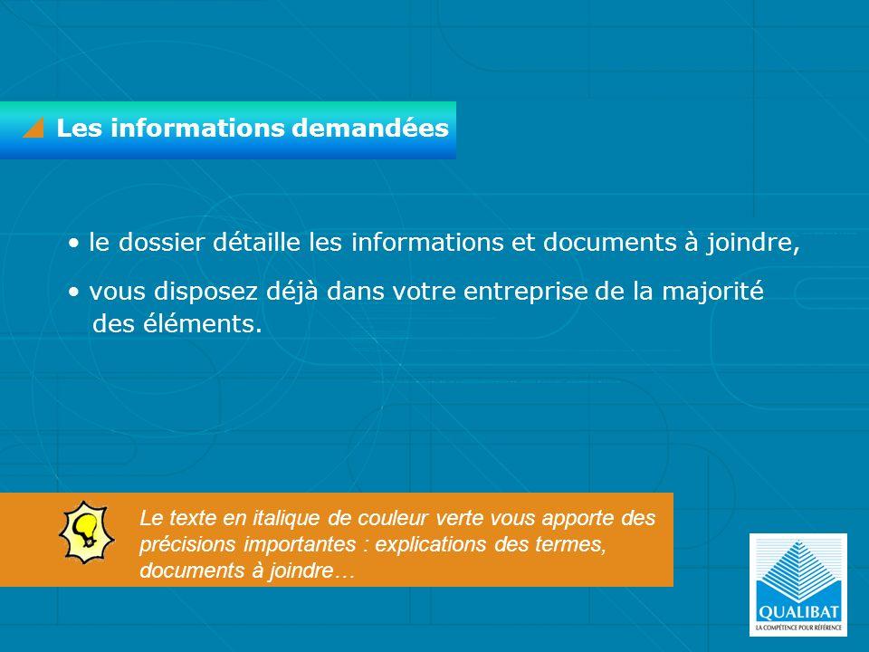 Les informations demandées le dossier détaille les informations et documents à joindre, vous disposez déjà dans votre entreprise de la majorité des él