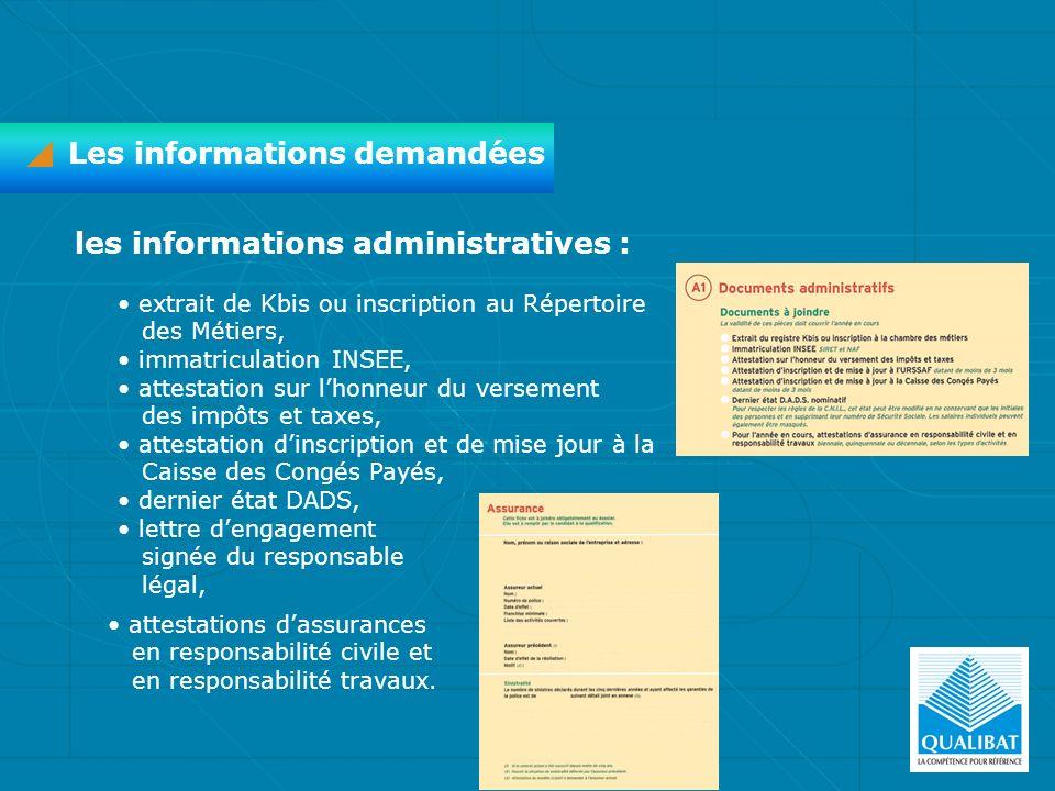Les informations demandées les informations administratives : extrait de Kbis ou inscription au Répertoire des Métiers, immatriculation INSEE, attesta