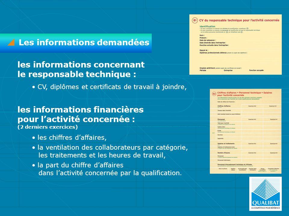Les informations demandées les informations concernant le responsable technique : CV, diplômes et certificats de travail à joindre, les informations f