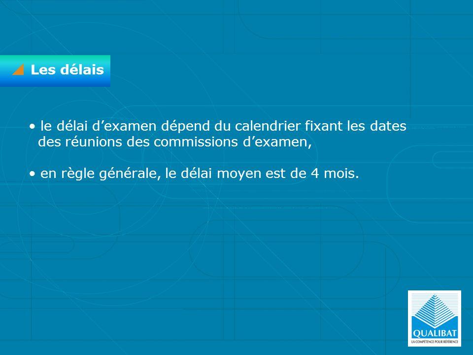 Les délais le délai dexamen dépend du calendrier fixant les dates des réunions des commissions dexamen, en règle générale, le délai moyen est de 4 moi