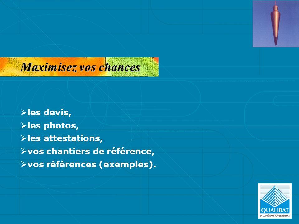 Maximisez vos chances les devis, les photos, les attestations, vos chantiers de référence, vos références (exemples).