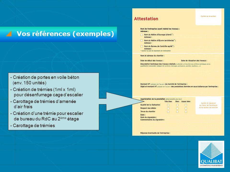 Vos références (exemples) - Création de portes en voile béton (env. 150 unités) - Création de trémies (1ml x 1ml) pour désenfumage cage descalier - Ca