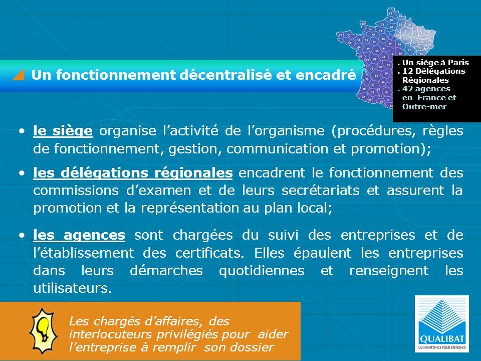le siège organise lactivité de lorganisme (procédures, règles de fonctionnement, gestion, communication et promotion); les délégations régionales enca