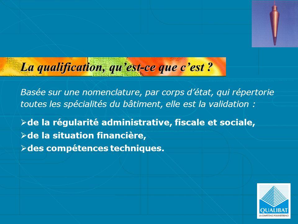 La qualification, quest-ce que cest ? de la régularité administrative, fiscale et sociale, de la situation financière, des compétences techniques. Bas