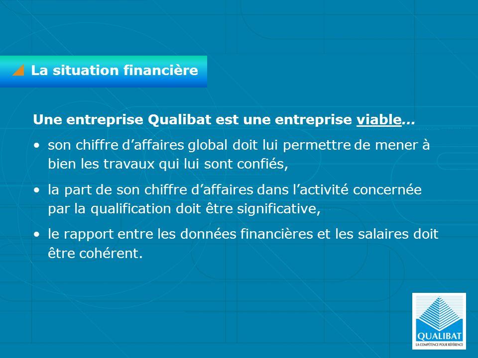 Une entreprise Qualibat est une entreprise viable… son chiffre daffaires global doit lui permettre de mener à bien les travaux qui lui sont confiés, l