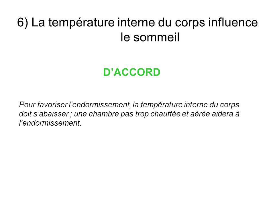6) La température interne du corps influence le sommeil DACCORD Pour favoriser lendormissement, la température interne du corps doit sabaisser ; une c