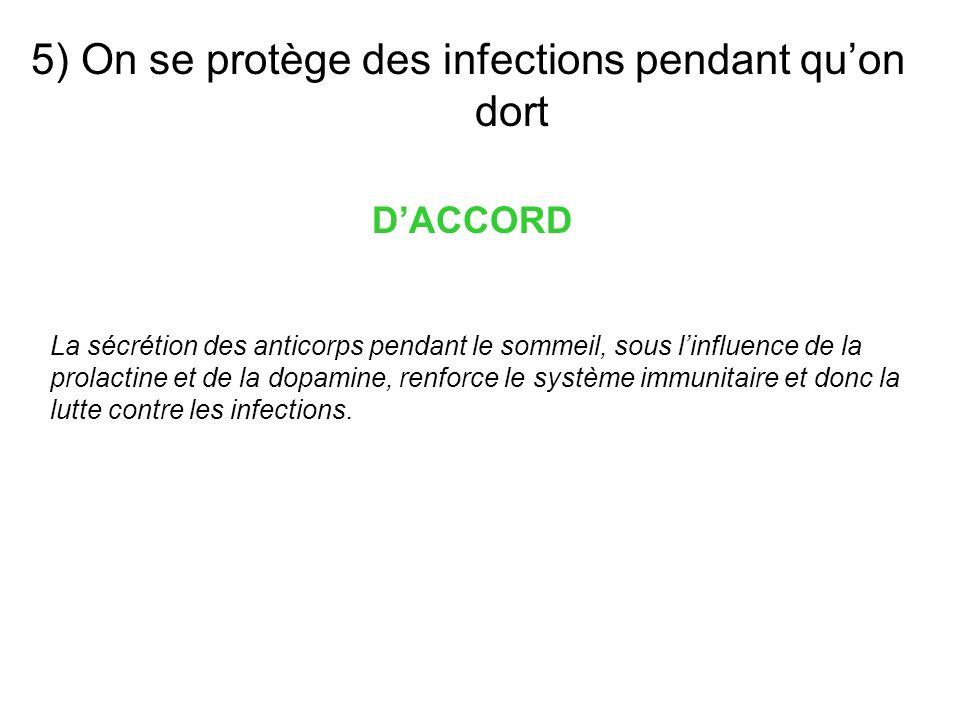 5) On se protège des infections pendant quon dort DACCORD La sécrétion des anticorps pendant le sommeil, sous linfluence de la prolactine et de la dop