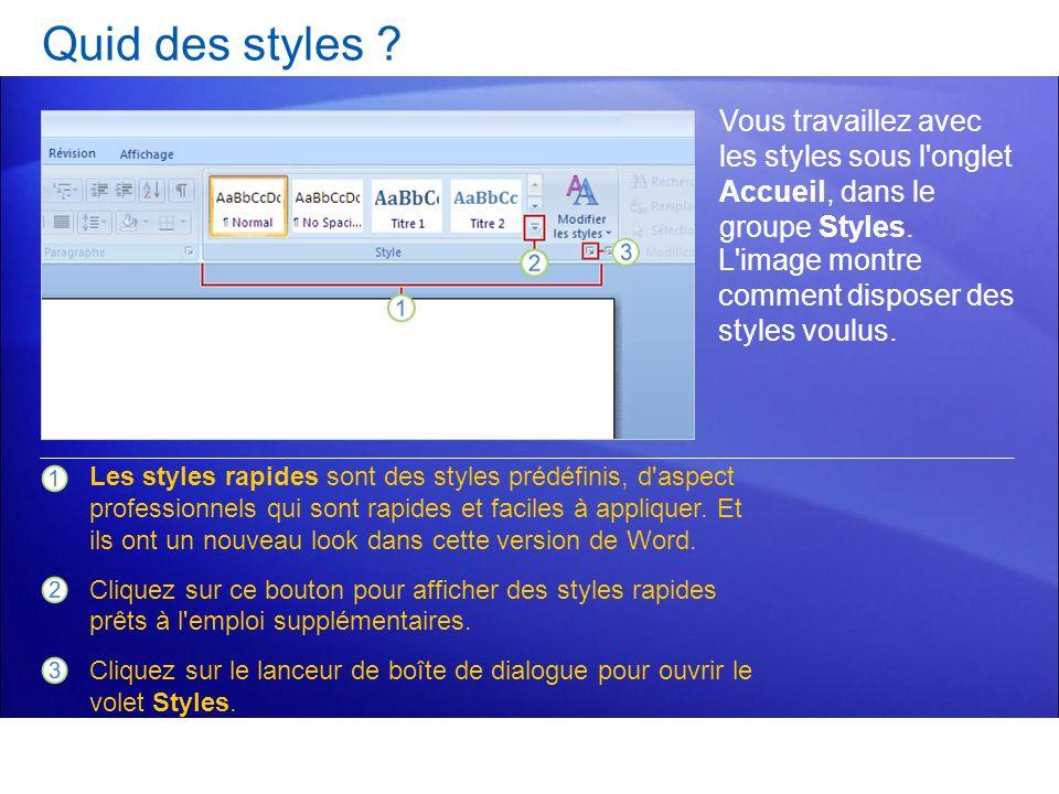 Quid des styles ? Vous travaillez avec les styles sous l'onglet Accueil, dans le groupe Styles. Les styles rapides sont des styles prédéfinis, d'aspec