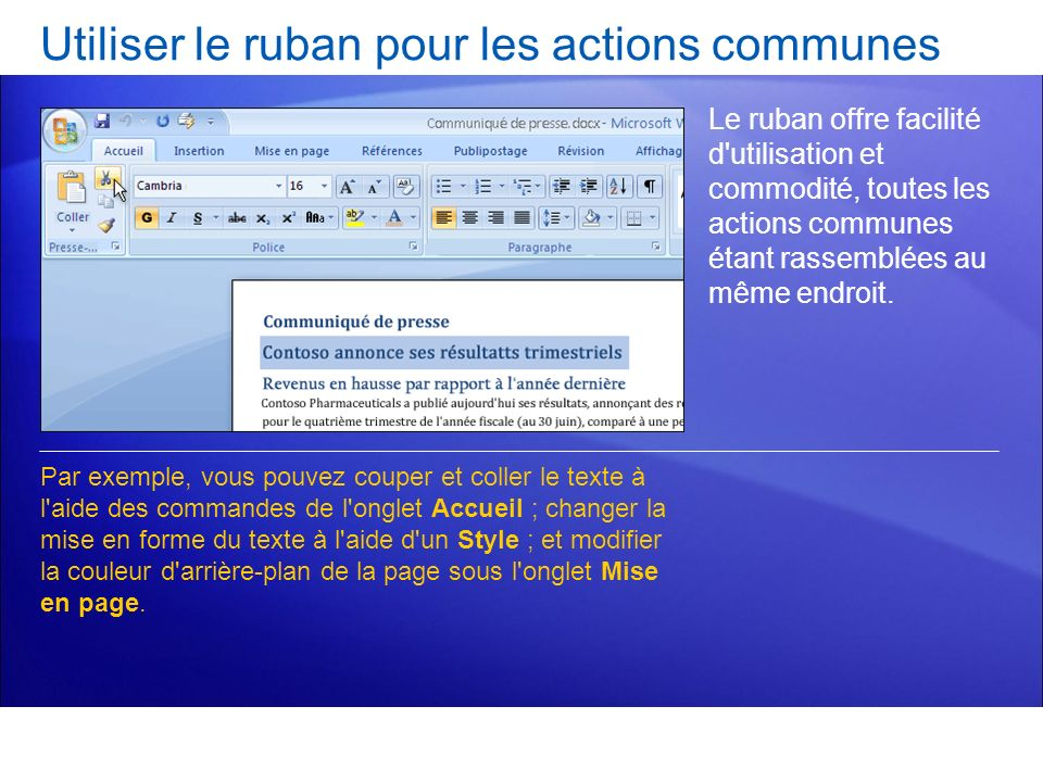Test 2, question 2 : Réponse Utiliser le bouton Microsoft Office.