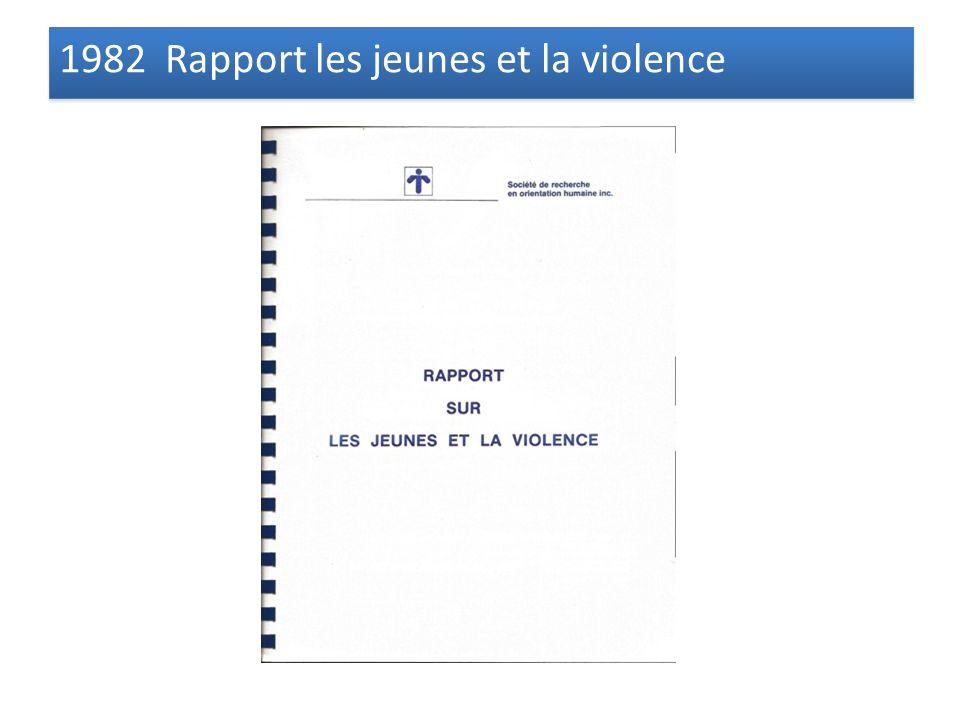 1982 Rapport les jeunes et la violence