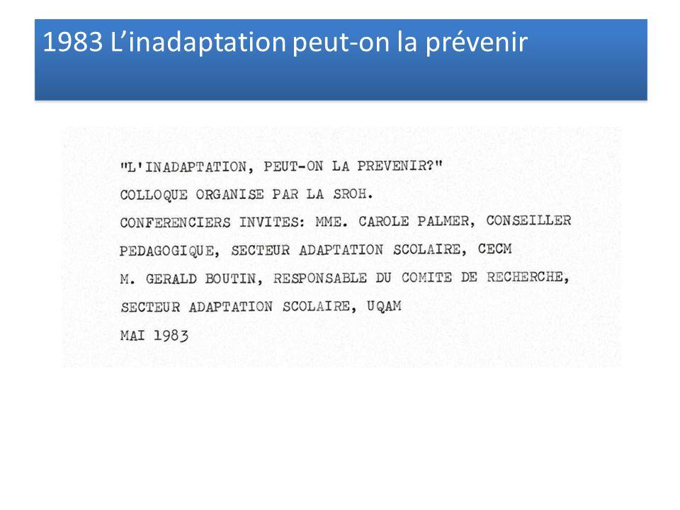 1983 Linadaptation peut-on la prévenir