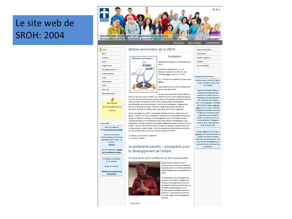 Le site web de SROH: 2004