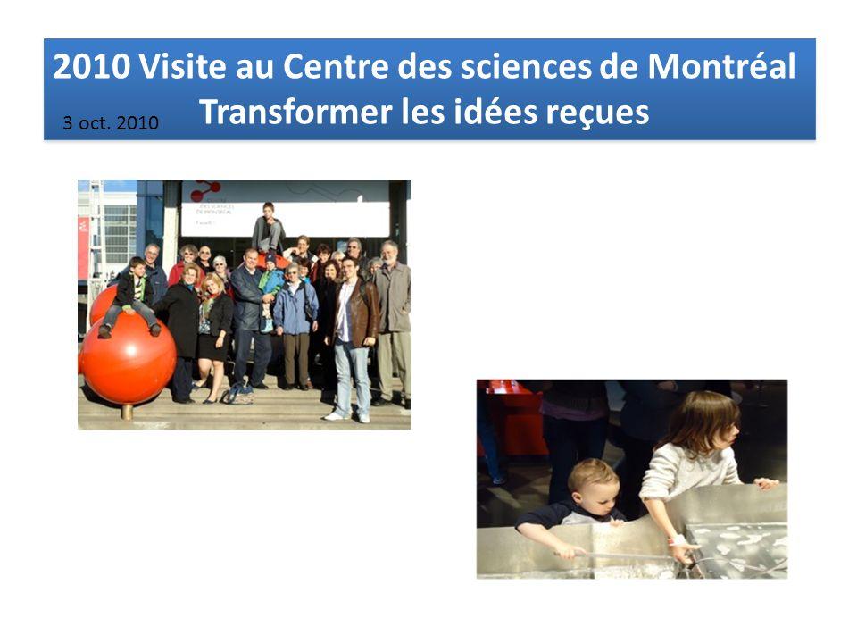 2010 Visite au Centre des sciences de Montréal Transformer les idées reçues 2010 Visite au Centre des sciences de Montréal Transformer les idées reçues 3 oct.