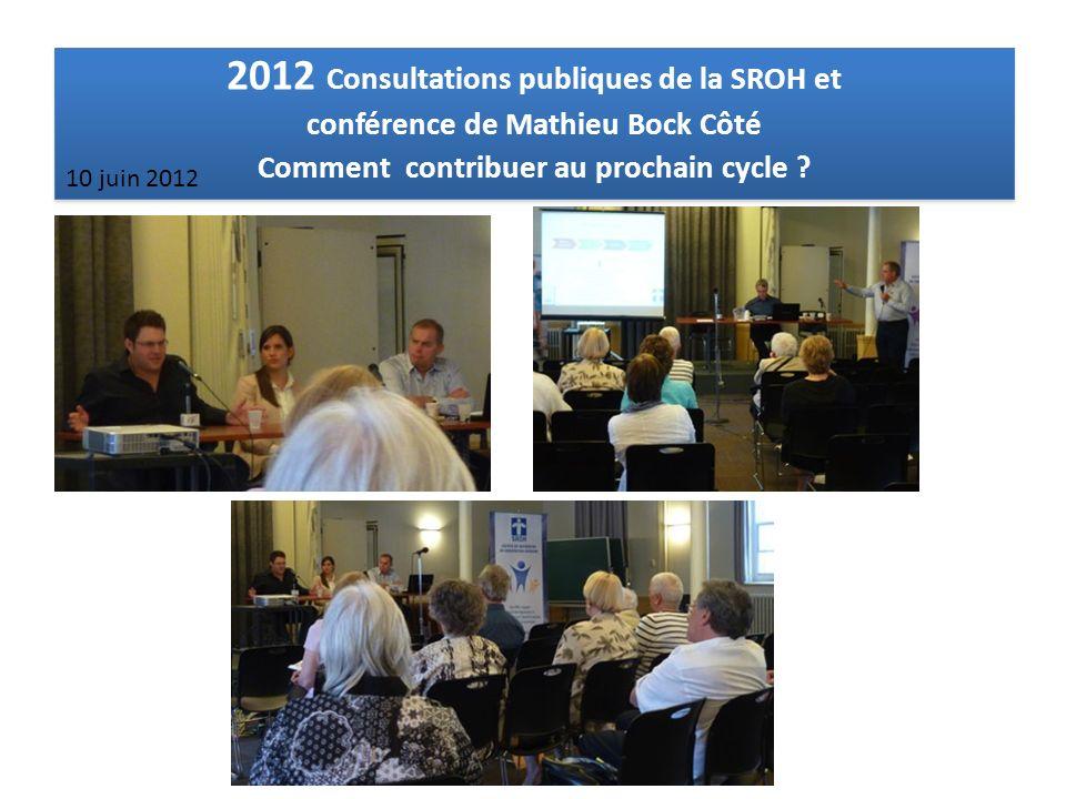 2012 Consultations publiques de la SROH et conférence de Mathieu Bock Côté Comment contribuer au prochain cycle ? 2012 Consultations publiques de la S