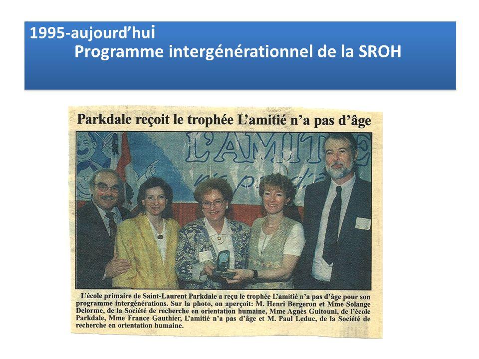 1995-aujourdhu i Programme intergénérationnel de la SROH 1995-aujourdhu i Programme intergénérationnel de la SROH