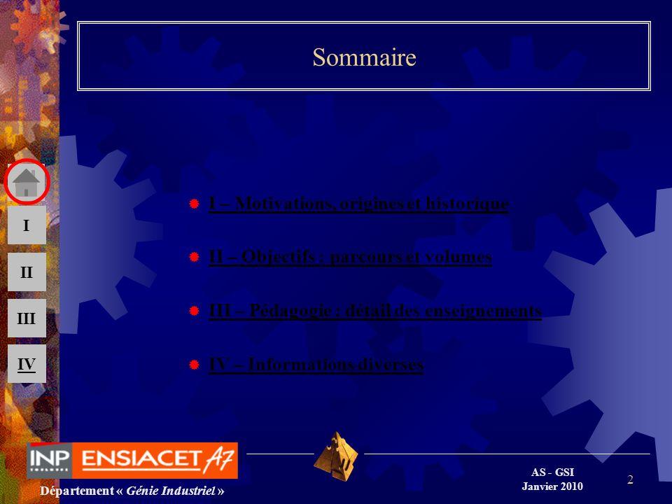 AS - GSI Janvier 2010 III II I IV 2 Sommaire I – Motivations, origines et historique II – Objectifs : parcours et volumes III – Pédagogie : détail des