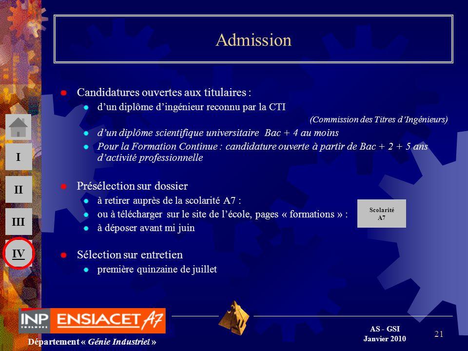 Département « Génie Industriel » AS - GSI Janvier 2010 III II I IV 21 Admission Candidatures ouvertes aux titulaires : dun diplôme dingénieur reconnu